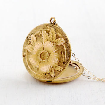Antique Art Nouveau Floral Locket Necklace - Gold Filled Edwardian Victorian Round Pendant Flower Jewelry