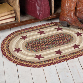 Burgandy Star Jute Rug