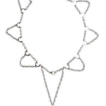 Lolusodesigns Silver Plated Linked Chain Elegant Dangling Crystal Heart Backdrop Choker Necklace