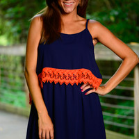 At The Half Dress, Navy/Orange
