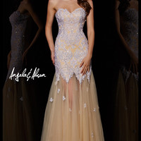 Angela & Alison 51065 Sheer Illusion Mermaid Prom Dress Evening Gown SALE