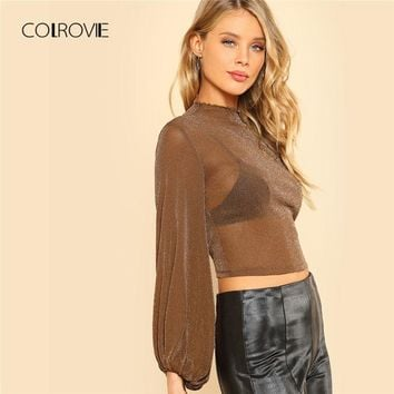 COLROVIE Bishop Sleeve Glitter Mesh Top Spring Stand Collar Slim Fit Woman Top Sheer Stretchy Crop Blouse