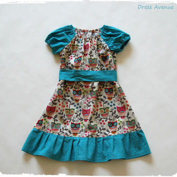 Toddler Girls Dress Hoot! Owl Dress Peasant Dress. Easter owl dress. Spring, summer, fall, winter. Back to school, family pictures. Cute!