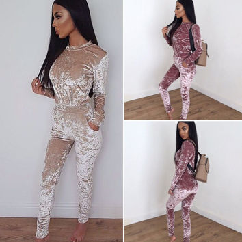 velvet sexy bodysuit women 2016 long sleeve elegant rompers womens jumpsuit overalls for women playsuit body feminino one piece