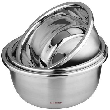 Flat Base Stainless Steel Bowl Mixing Salad Bowl Mirror Finish Prep Bowl Series Food Storage Kitchen Tools