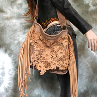 Tan lace leather ONLY ONE openwork light brown nude sweet smoke bags hobo bohemian wedding asymmetrical raw edges boho medium