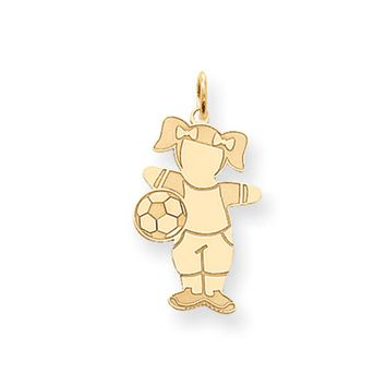 14k Yellow Gold Laser Etched Soccer Girl Charm or Pendant, 14mm