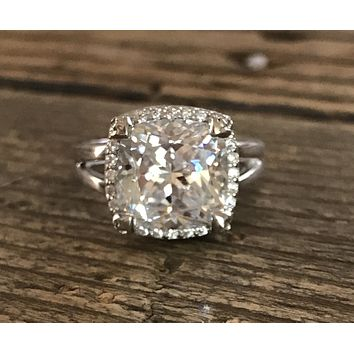 A Perfect 5.6CT Cushion Cut Russian Lab Diamond Halo Split Shank Engagement Ring