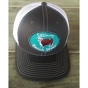 """Lazy J Ranch Wear Grey and White  Hereford Logo Cap (3.5"""")"""