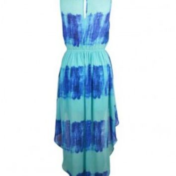 Tie-dye Round Neck Sleeveless Dress