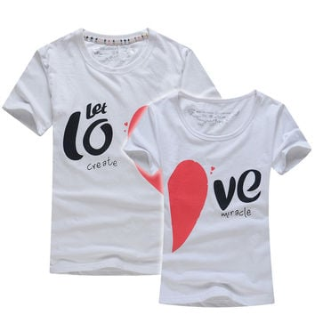 2016 Valentine Day Gift Men Women Short Sleeve Couples T Shirts Letter Print Let Love Creat Miracle Female Casual Lovers T-Shirt