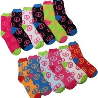 Fuzzy Socks with Peace Signs, Fuzzy PEACE Socks, 12 Pairs, Size 9-11.