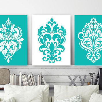 Turquoise Bedroom Pictures, CANVAS or Prints, Turquoise Bathroom Decor, Damask Design Wall Art, Turquoise Damask Pictures, Set of 3 Artwork