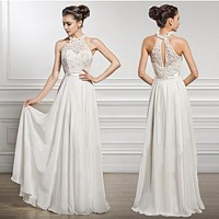 Halter Sleeveless Lace Chiffon Prom Dress Wedding Dress