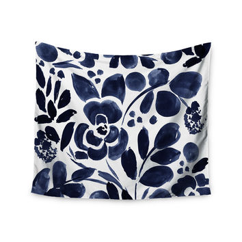 "Crystal Walen ""Watercolor Floral"" - Navy Painting Wall Tapestry"
