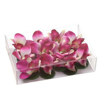 "Box of 12 Floating Fuchsia Dendrobium Silk Orchid Heads - 2.25-2.5"" Blooms"