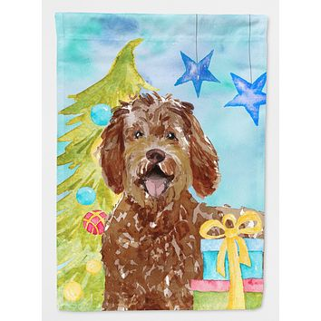 Christmas Tree Labradoodle Flag Canvas House Size CK1874CHF