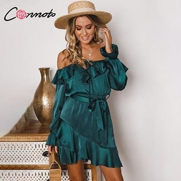 Conmoto Ruffles Lace Up Off Shoulder Women Dress Bow Long Sleeve Elegant Vintage Dress Bow Blue Short Party Satin Dress Vestidos