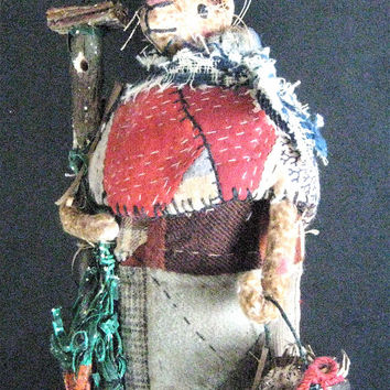 "Primitive Folk Art Storybook Rabbit ""HOSPITALITY HANNAH""-- OOAK Original Handcrafted from Olde Quilt w/Birdhouse, Carrots & American Flag"