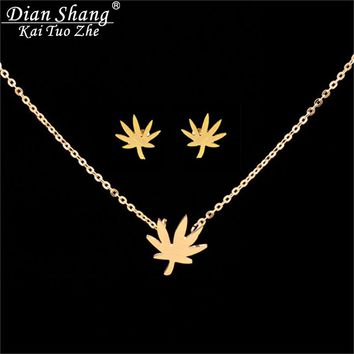 Gold Stainless Steel Druzy Earrings Vintage Maple Leaf Necklace