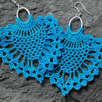 Crocheted Pineapple Earrings - Turquoise color