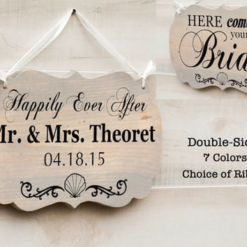 Personalized Double Sided romantic wedding wood sign 7 colors. Mr. and Mrs., Ring Bearer Sign, Here Come the Bride, Beach Wedding Decor