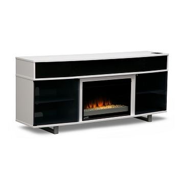 Pacer Entertainment Wall Units Fireplace TV Stand with Sound Bar - Value City Furniture