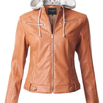 LE3NO Womens Faux Leather Moto Biker Jacket with Detachable Fleece Hoodie