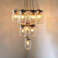 Mason Jar Chandelier Mason Jar Lighting Hanging Swag by BootsNGus