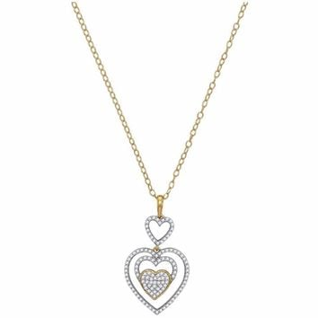 10kt Yellow Gold Womens Round Diamond Triple Nested Heart Pendant Necklace 1/3 Cttw