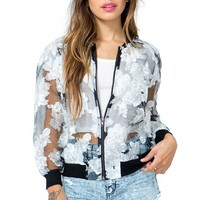 Rose Organza Bomber Jacket