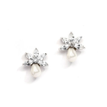 Dainty CZ Bridal Earrings with Freshwater Pearls 4286E