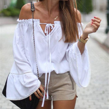 Off Shoulder Tunic Blouse Loose Long Sleeve