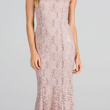 Nude Cap Sleeves Fit and Flare Long Formal Dress Lace Cut Out Back