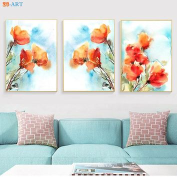Orange Poppies Botanical Prints Watercolor Painting Abstract Floral Wall Art Poster Canvas Painting for Home Room Decor Framed