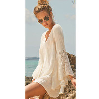 Summer Womens Beach Dresses 2015 New Women Lady Hot Sleeve Flare Lace Dress Party Dress Sundress