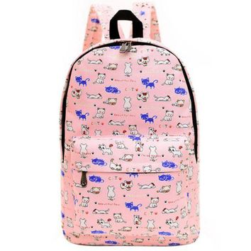 LMFON1O Day First Cute Animal Dogs and Cats Printed Canvas Backpack