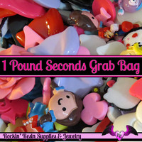 1 Pound Seconds GRAB BaG of Resin Decoden Flatback Kawaii Cabochons and Cameos
