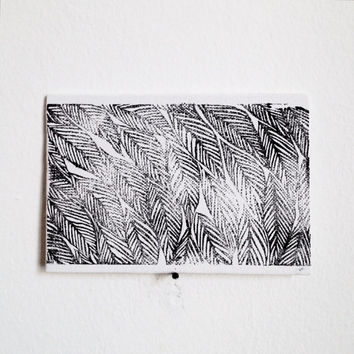 Small Hand Printed Canvas with Linocut Feathers Print in Black and White