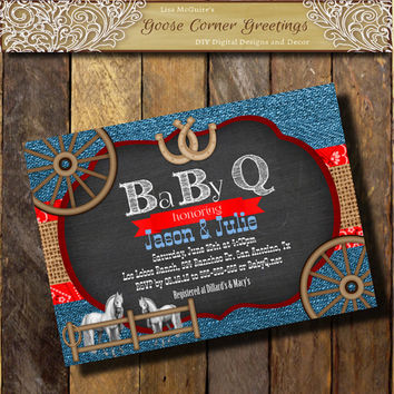 Denim BABY-Q  Invitation BURLAP Chalkboard Red Blue Baby Shower Western invitations Horeses Wagon Wheel Horseshoe Birthday any color