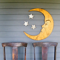 $79.00 Moon Face Sign Halloween Decoration Autumn Man by SlippinSouthern