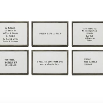 Metal & Glass Frame w/ Easel & Saying, 6 Styles