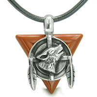 Amulet Arrowhead Howling Wolf Trinity Dreamcatcher Red Jasper Leather Pendant Necklace