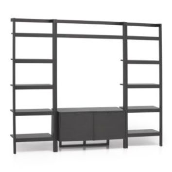 Sawyer Grey Leaning Media Stand with Two 24.5'' Bookcases