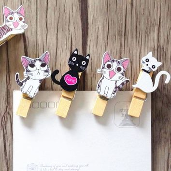 10pcs/Lot Japan style Cute cat wooden clips + rope Mini nice Food clip Kawaii wood clip for bag Students' DIY tools