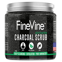 Activated Charcoal Scrub - Made in USA - For Deep Cleansing, Exfoliation, Acne Scars, Blackhead...
