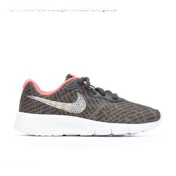Bedazzled Gray Girls Nike Tanjun | 10.5-3