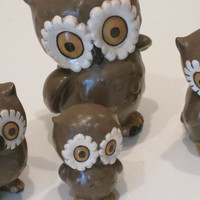 Vintage Owl Figurines Family of 4