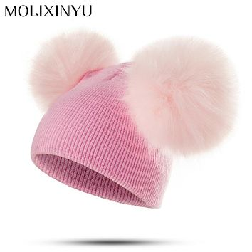 MOLIXINYU Brand Infant Toddler Baby Girls Boys Warm Winter Hat Pom Pom Baby Hat  Newborn Photography Props Dropshipping