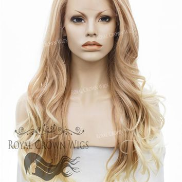 "26 inch Heat Safe Synthetic Lace Front ""Constance"" with Curly Texture in Rose Gold Blonde Ombre"